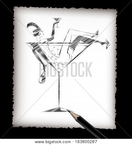 dark background, black pencil, sheet of white paper and the image of abstract drinking lady in the large glass