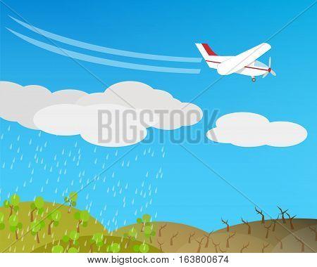 Artificial rain Rainmaking Cloud seeding vector design
