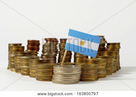 Argentina Flag Waving With Stack Of Money Coins
