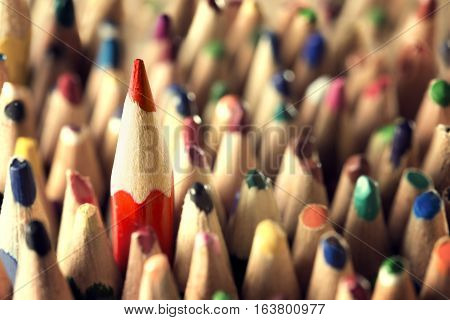 Pencil Leader Concept Sharp in Used Pencils Crowd New Unique Idea in Old Broken Business Closeup
