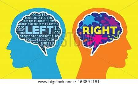 left and right brain way of thinking vector illustration