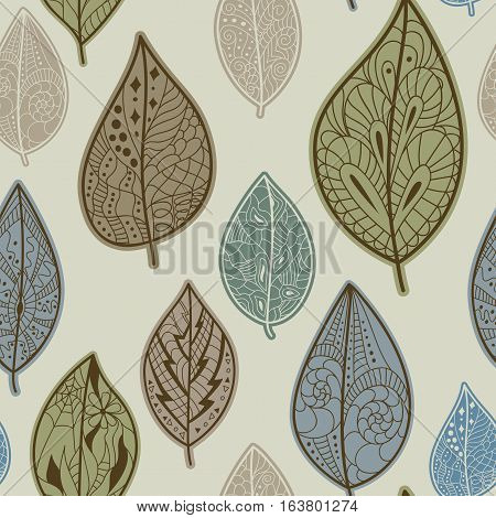 Seamless pattern with autumn leaves. Pattern fills for web page background.