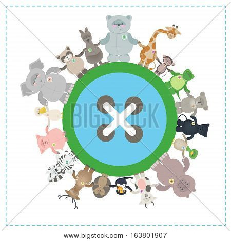 Animals of different species together on the globe. Environmental protection. Vector cartoon funny little animals