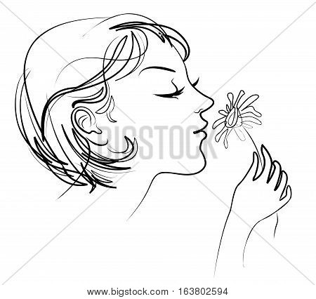 The Girl Holds In Her Hand Tenderly Daisy. Smelling Flowers