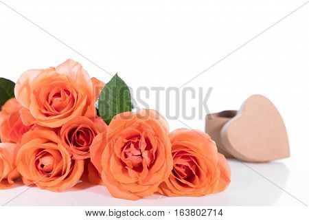 Still Life With Roses And Gift Box