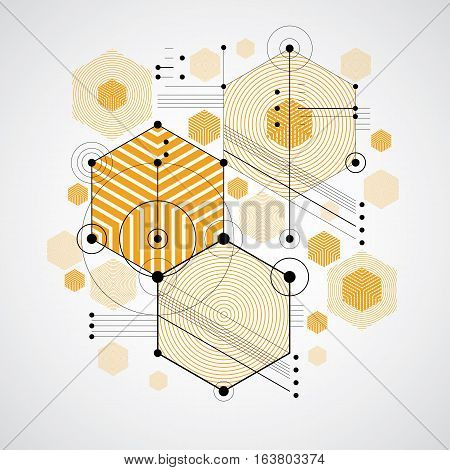 Bauhaus art decorative modular vector background made using striped hexagons and circles. Retro style pattern graphic backdrop for use as booklet cover template. Illustration of engineering system.