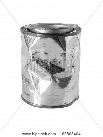 Crumpled Metal Can isolated on white background clipping path