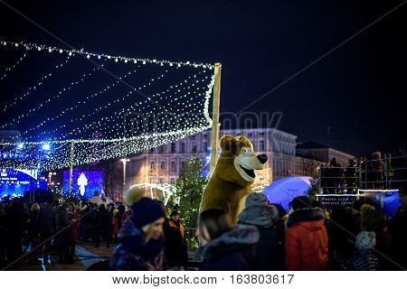 Prague, Czech Republic - December 11, 2015: Wooden Stalls Offering Souvenirs And Traditional Food Du