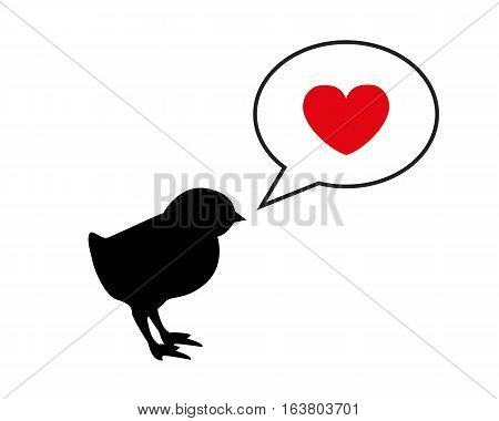 a small black silhouette chick calling mom. Dialogue bubble and heart