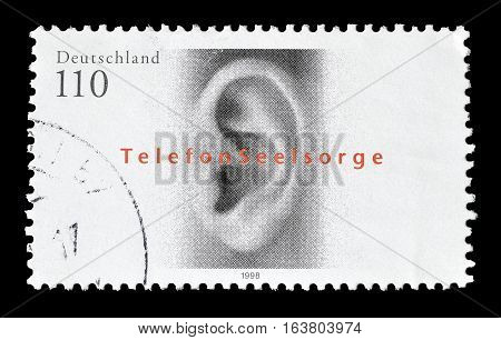 GERMANY - CIRCA 1998 : Cancelled postage stamp printed by Germany, that shows Ear.