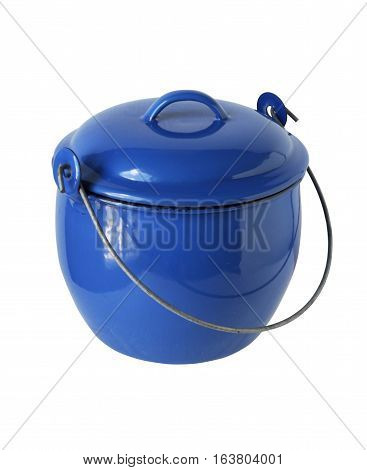 Thai Style Pot and Lid isolated on white background Clipping Path