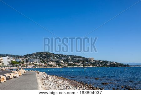 View from Cap de la Croisette to Palm Beach at Point Croisette in Cannes Cote d'Azur France