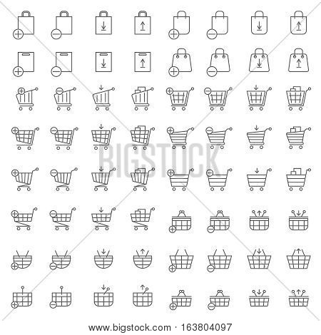 Shopping cart or shop basket vector icons for web merchandise and e-commerce. Business online add and delete to basket illustration