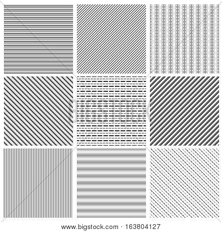 Geometric line pattern set. Parallel streep black diagonal lines patterns vector illustration. Set of geometric line backgrounds