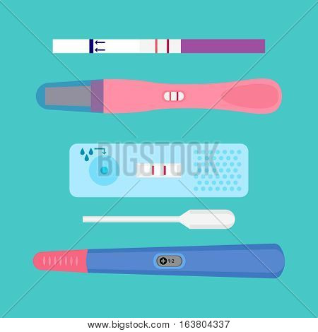 Pregnancy test flat icons. Ovulation medical tests result vector illustration. Examination test pregnant woman