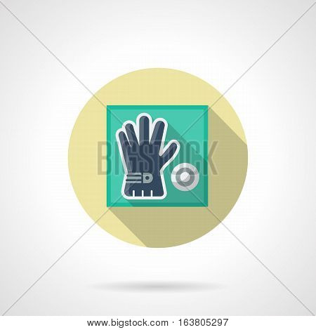 Blue golf glove and white ball. Store of sport equipment and accessories, elements for golfing tournament. Round flat design vector icon.