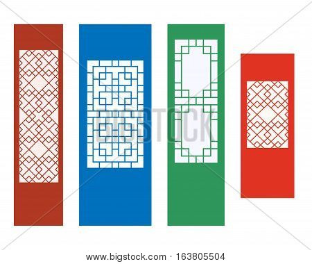 Korean ornament for wall and window in flat vector