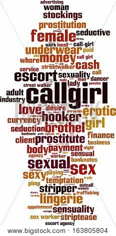 Callgirl word cloud concept. Vector illustration on white