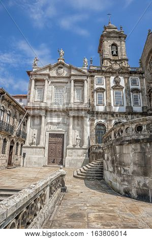The Church of Saint Francisco Portugal Porto built in the Gothic style. The western portal of the church is Baroque decorated with columns of Solomon and the statue of St. Francisco