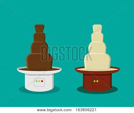 Cheese and Chocolate Fondue in flat style vector design