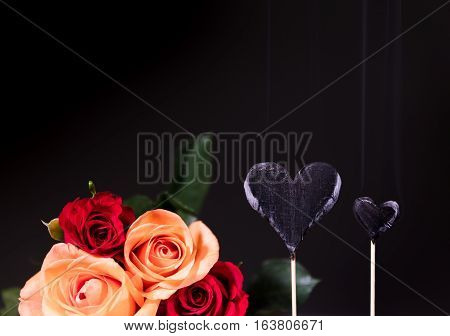 Burnt Hearts With Roses Bouquet