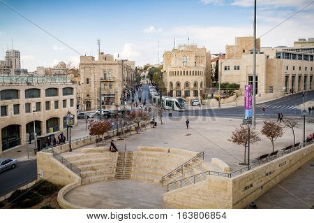JERUSALEM ISRAEL - DECEMBER 8: View of Jerusalem from wall of the Old City in Jerusalem Israel on December 8 2016