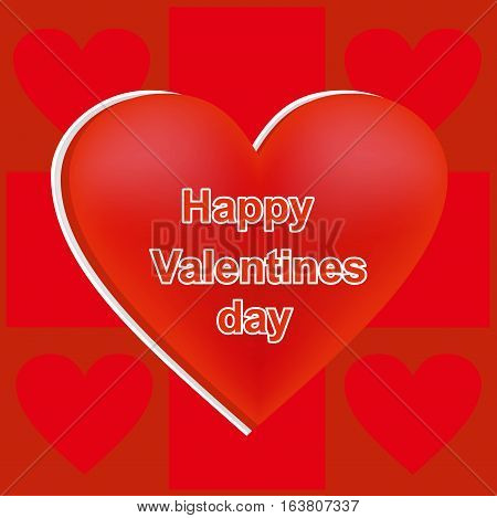 Heart of red color, card for St. Valentine's Day, a holiday of lovers, is divided into squares, a Valentine's Day card with words, a vector heart