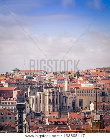 Aerial view of the city of Lisbon Portugal