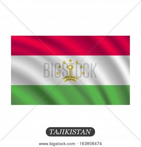 Waving Tajikistan flag on a white background. Vector illustration