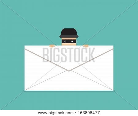 Thief hide behind phishing mail vector design poster
