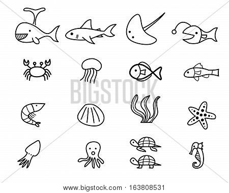 Seafood and sea animal in linear style vector design