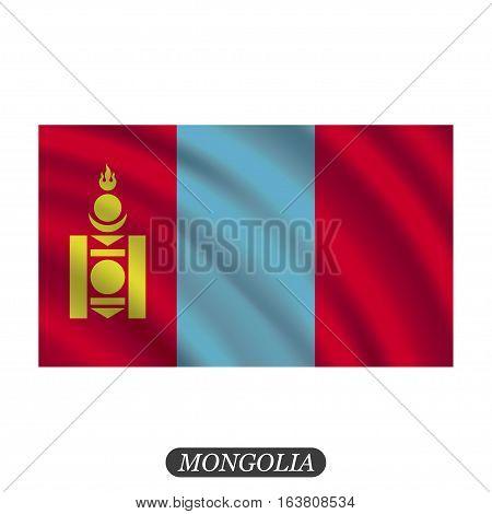 Waving Mongolia flag on a white background. Vector illustration