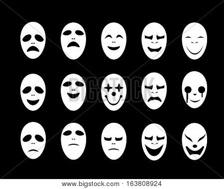 Set of White ghost face mask in flat style vector design