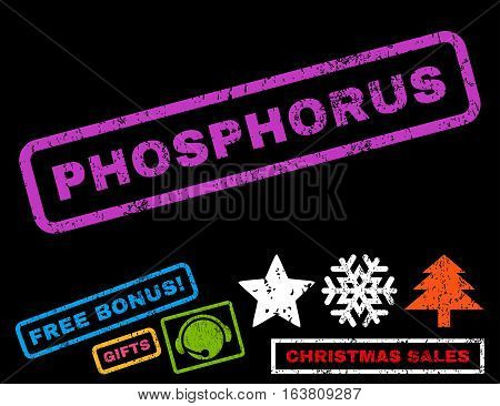 Phosphorus text rubber seal stamp watermark with additional bonus new year symbols. Caption inside rectangular shape with grunge design and dust texture.