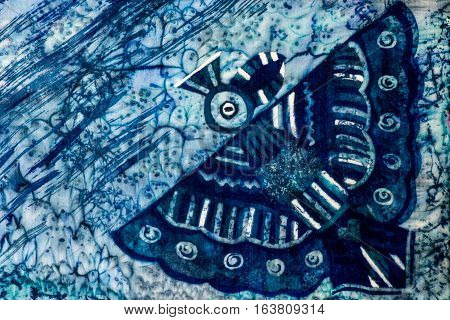 Bird, Turquoise And Violet, Hot Batik, Background Texture, Handmade On Silk, Abstract Surrealism Art