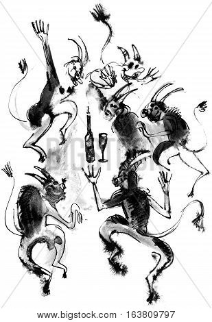 Dancing devils ink drawing. Isolated on white background
