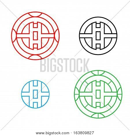 Modern Circle Chinese pattern window frame vector