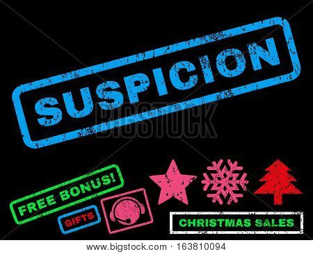 Suspicion text rubber seal stamp watermark with bonus christmas symbols. Tag inside rectangular shape with grunge design and dirty texture.