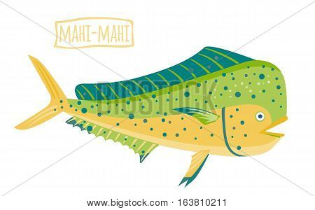 Mahi-mahi,  green with blue spots, vector cartoon illustration