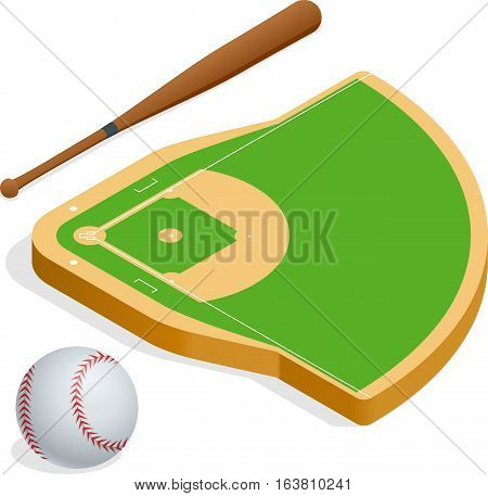 Isometric elements baseball set. Baseball fields, leather ball and wooden bats. Vector illustration