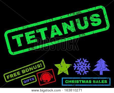 Tetanus text rubber seal stamp watermark with additional bonus new year symbols. Caption inside rectangular shape with grunge design and unclean texture.