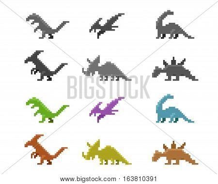 Set of dinosaur icons in color pixel style vector design