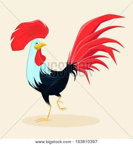 Proud red rooster with beautiful lush tail and crest. Symbol of New Year 2017. Cute cartoon cock. Vector illustration