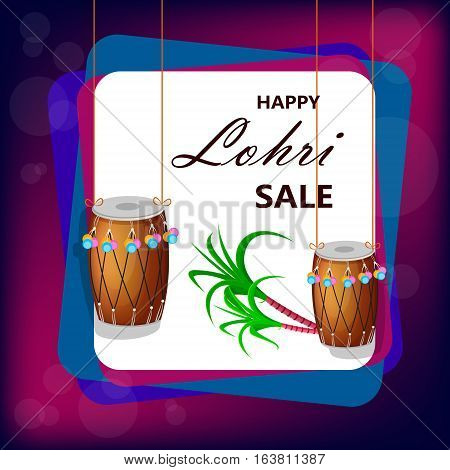 Happy Lohri sale banner with two hanging drums and sugarcane Punjabi traditional Festival. Vector illustration on violet background