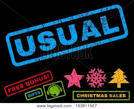 Usual text rubber seal stamp watermark with bonus christmas symbols. Caption inside rectangular shape with grunge design and unclean texture.