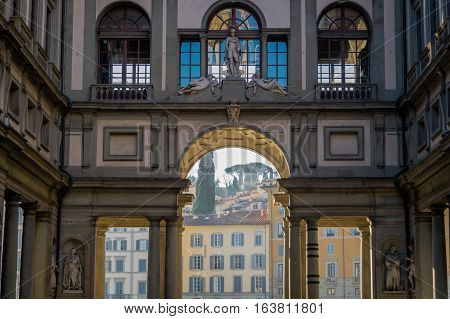 Uffizi in city of  Florence in Italy