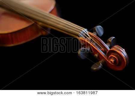 Wooden brown fidde, classical music close up horizontal