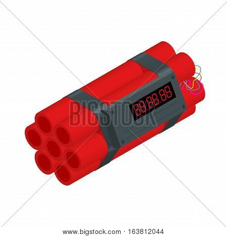 TNT time bomb explosive with digital countdown timer clock isolated on white background.