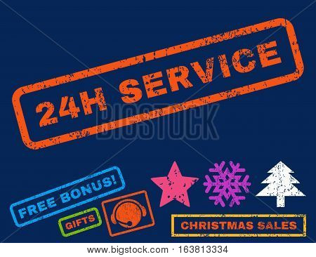 24H Service text rubber seal stamp watermark with additional bonus christmas symbols. Caption inside rectangular shape with grunge design and unclean texture.
