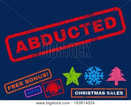 Abducted text rubber seal stamp watermark with bonus new year symbols. Caption inside rectangular shape with grunge design and dirty texture.